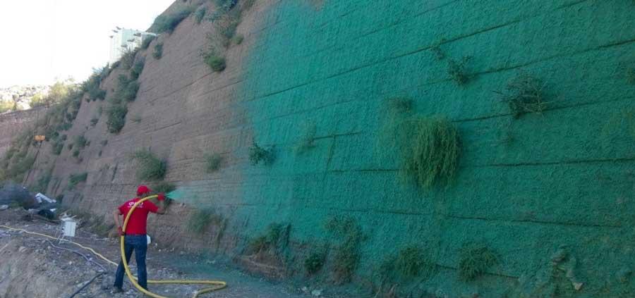Yeşil Terramesh İstinat Duvarı Çim Püskürtme Uygulaması